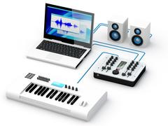 home recording studio equipment - stock illustration