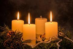 advent wreath for christmas - stock photo