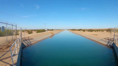 Wide Canal Moving Colorado River Water To Imperial Valley Farmland Stock Footage