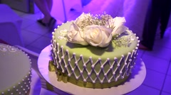Wedding Cake with nice decoration - stock footage