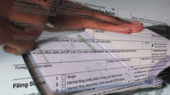IRS Form (1040) With Check Background Stock Footage