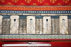 paintings in temple wat pho teach acupuncture and fareast medicine - stock photo