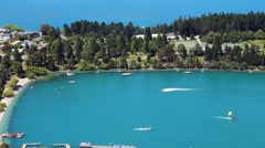Aerial view of Queenstown in South Island, New Zealand Stock Footage