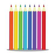 Set of coloured pencils -  illustration on white background Stock Illustration
