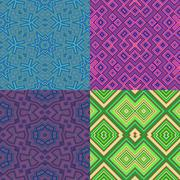 set of wallpaper cubic floral seamless generated textures - stock illustration