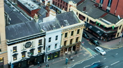 Belfast Crown Liquor Saloon pub sunset time lapse zoom out - stock footage
