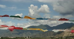 4k prayer flag on lhasa river bridge,tibet. Stock Footage