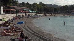 Toulon France beach senior mature swimming 4K 001 Stock Footage