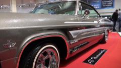 4k Motorshow Chevy Impala Super Sport panning - stock footage
