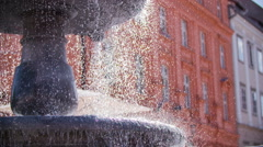 Water pouring from different layers on old fountain Stock Footage