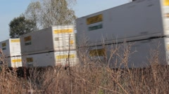 Cargo train passing by dry land Stock Footage