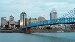 Cincinnati Roebling Bridge and Skyline Timelapse 1 Stock Footage