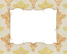 Stock Illustration of chic frame copy space on white and gold damask