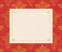 Stock Illustration of elegant copy space on red damask