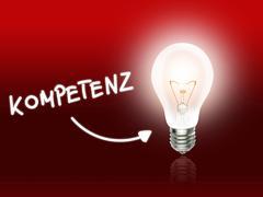 kompetenz bulb lamp energy light red - stock illustration