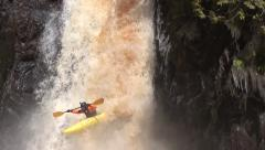 Kayak Waterfall Stock Footage