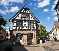 old renovated half timbered houses - stock photo