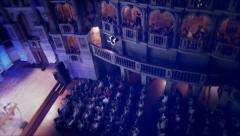 Theatre with people hearing conference Stock Footage