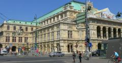 Vienna State Opera building and traffic Stock Footage