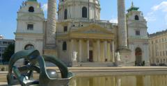 Beautiful baroque Karlskirche Church in the city of Vienna. Stock Footage
