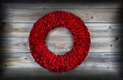 wooden holiday wreath with vignette - stock photo