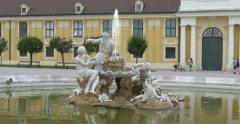 Schonbrunn Palace Vienna Wien Austria statue architecture details fountain water Stock Footage