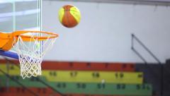 Basketball training - Ball Flies Into Basketball Baskets Goal Hoop Stock Footage
