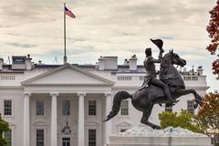 jackson statue lafayette park white house autumn pennsylvania ave washington  - stock photo