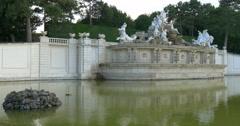 Neptune Fountain in Schonbrunn Palace gardens in Vienna, Austria. Stock Footage