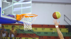 Ball Flies Into Basketball Baskets Goal Hoop - Basketball training Stock Footage