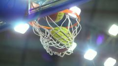 Ball Flies Into Basketball Baskets Goal Hoop - Basket training - stock footage