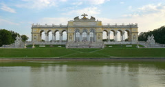 Gloriette Vienna Schonbrunn palace garden architecture sunset Austria austrian Stock Footage