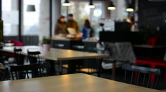 Empty cafe - people in background Stock Footage