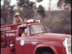 Fire Engine Fights Grassfire (Archive Footage) 1980s - stock footage