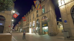 Dijon streets at night, France Stock Footage