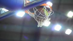 Scoring the winning points at a basketball game - slow - stock footage