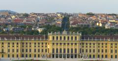 Schonbrunn Palace with cityscape in background from left to right. Stock Footage