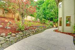 backyard leveled landscape design - stock photo