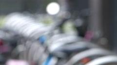 Bike parking focuspull Stock Footage