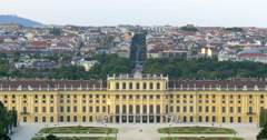 Vienna Austria skyline aerial city view Wien Schonbrunn palace architecture Stock Footage