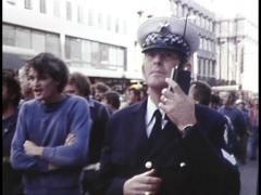 Workers Protest as Police Look On (Archive Footage) 1980s Stock Footage