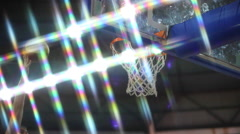Scoring the winning points at a basketball game - dunk - stock footage