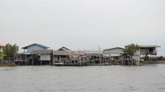Bang Khun Thian canal flow to the sea at Bangkok Thailand Stock Footage
