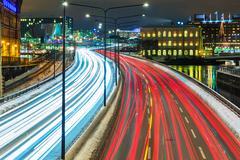 Winter highway traffic in Stockholm, Sweden - stock photo