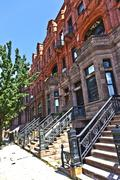 Harlem district and its typical house - new york. Stock Photos