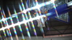 Ball Flies Into Basketball Baskets Goal Hoop  Stock Footage