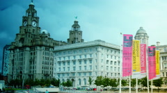 Royal Liver Buildings on a sunny day in Liverpool, zoom Stock Footage