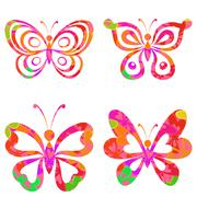 Set butterflies with pattern Stock Illustration