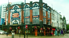 The Crown Hotel on the corner of Lime Street in Liverpool Stock Footage