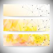 Set of horizontal banners. Orange triangle design background, vector - stock illustration